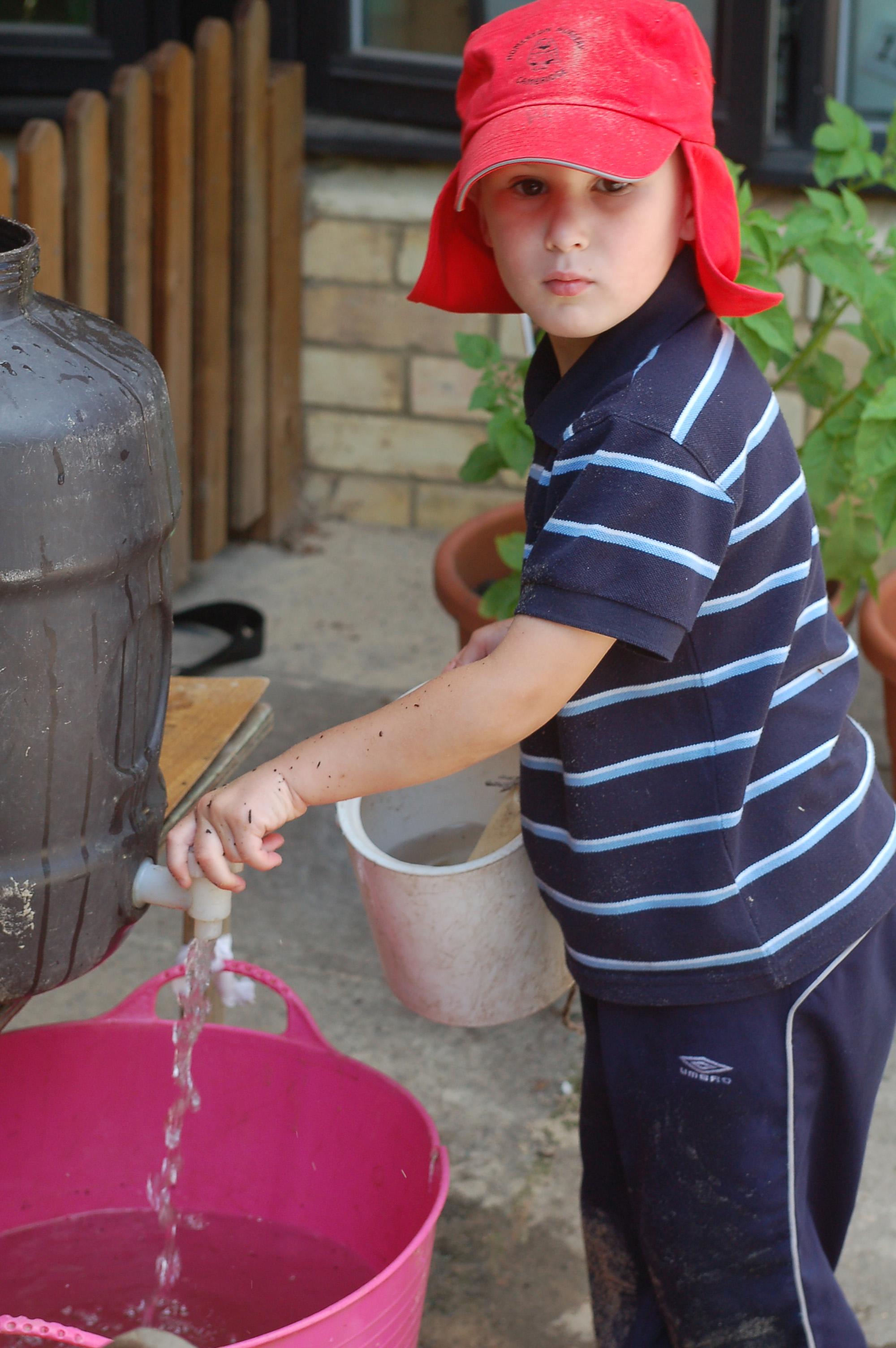 Filling water buckets