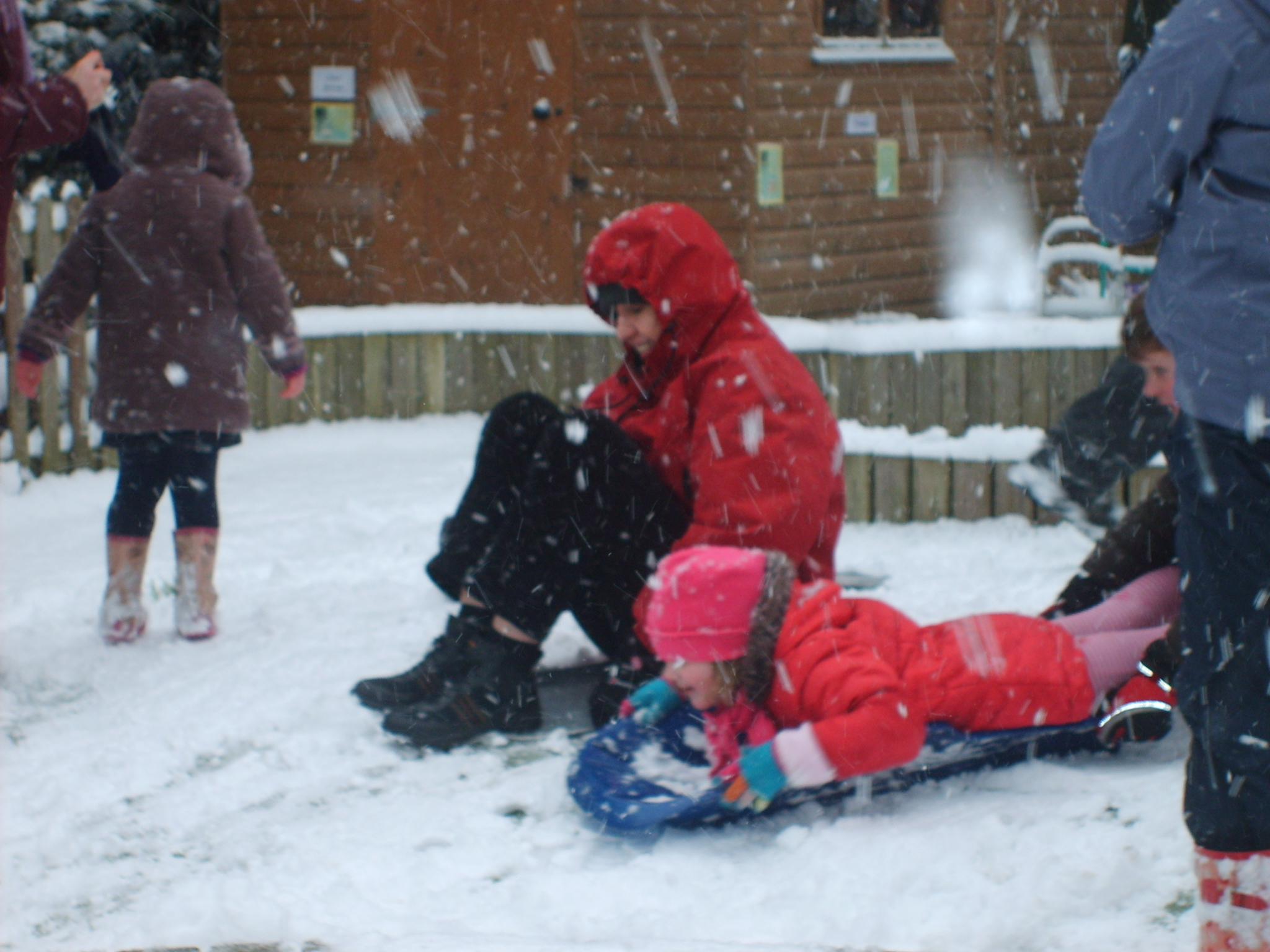 Sledgeing in the snow
